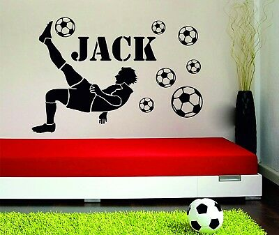 Football Player Personalised Boys Name With Footballs Vinyl Wall Sticker Decal
