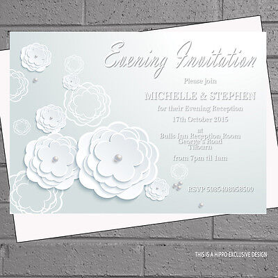 12 x White Roses Pearls Wedding Evening Day Reception Invitations | H0812