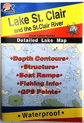 Lake St. Clair Detailed Lake Map, GPS Points, Waterproof, Depth Contours #L130