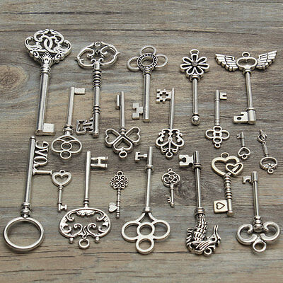 20 Assorted Antique Tibetan Silver Vintage Skeleton Keys Steampunk Charm Pendant