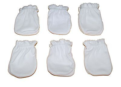 Solid White - 6 Pairs Cotton Newborn Baby/infant No Scratch Mittens Gloves