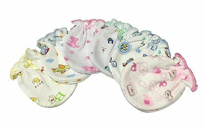Cartoon - 6 Pairs Cotton Newborn Baby/infant No Scratch Mittens Gloves