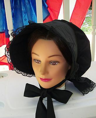 Civil War Dress Victorian Accessories Lady's Black 100% Cotton Slat~Sun Bonnet