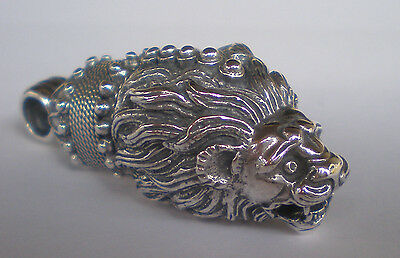 Lion Head Sterling Silver X-Large Pendant:- Strength Symbol - Ancient Greece