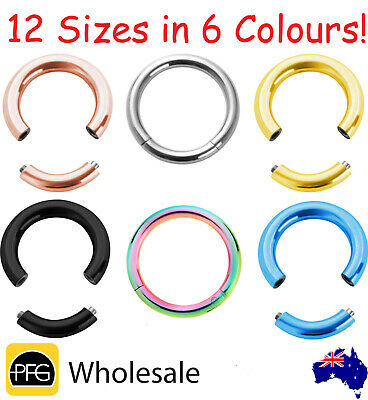 Surgical Steel Seamless Segment Captive Septum Ear Nose Lip Ring Hoop Piercing