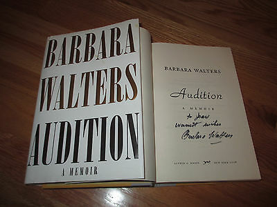 """Broadcast Journalist BARBARA WALTERS signed AUDITION - A Memoir Book """"To Jean"""""""