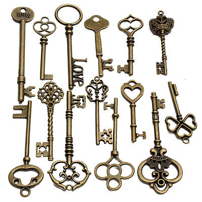 18 Assorted Antique Retro Large Skeleton Keys Bronze Steampunk Jewelry Pendants