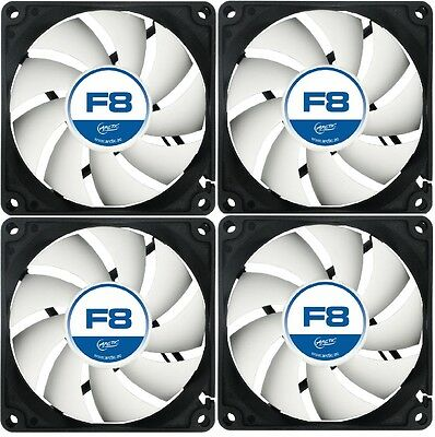 4 Pack Of Arctic F8 80mm 8cm PC Gaming Case Fan Silent, High performance 6Yr Wty