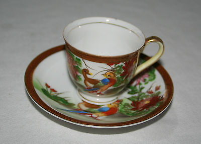 Vintage Childs Tea Cup and Saucer Japan Pheasants