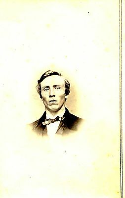 Old b/w CDV photo interesting looking man bow tie clean shaven