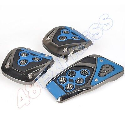 Universal Car Truck Blue&Black Manual Pedal Pedals Pad Cover Set Non-Slip New