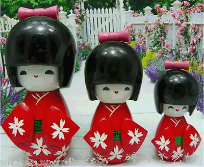 New 3pcs KOKESHI ORIENTAL JAPANESE Kokeshi RED WOODEN DOLLS