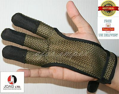 ARCHERS MESH SHOOTING 3 FINGERS GLOVE LEATHER FREE GLOVE GOLD COLOR
