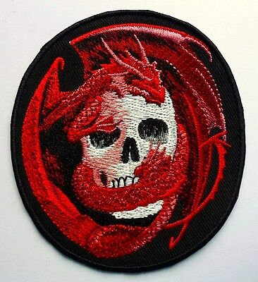 RED DRAGON SKULL - SEW ON BIKER MOTORCYCLE PATCH 88mm by 80mm
