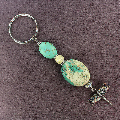 BLUE MAGNESITE DRAGONFLY KEY CHAIN Hammered Ring Silver Genuine Stone White