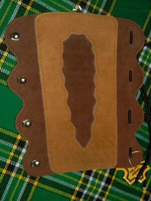 Archery arm guard leather lacing fittings brown & mustard Coppers Hook AA 076---