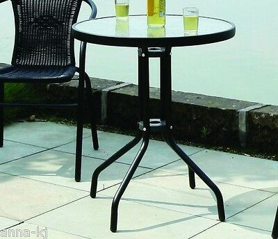 Black Round Metal Table Glass Topped Garden Outdoor Bistro Patio Furniture