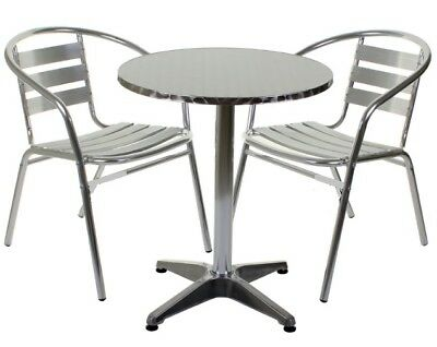 Aluminium Silver Patio Bistro Cafe Set Table Chairs Garden Outdoor Pool Silver