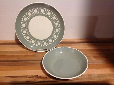 """Two HARKER WARE PERSIAN KEY GREEN  pieces 7 1/4"""" PLATE DINNER and 5 3/4"""" SALAdD"""