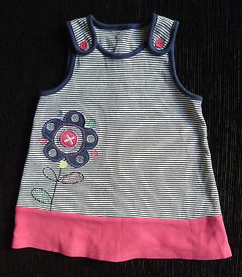 Baby clothes GIRL 3-6m Honey Boo Boo soft cotton navy blue/pink dress no sleeve