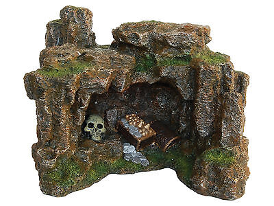 Cave with Treasure & Skull Aquarium Ornament Fish Tank Decoration