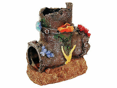 Sunken Pipe with Coral Aquarium Ornament Fish Tank Decoration