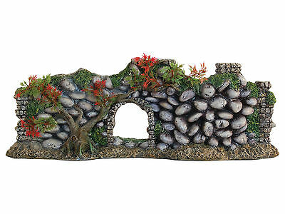 Wall with Plants Aquarium Ornament Fish Tank Decoration