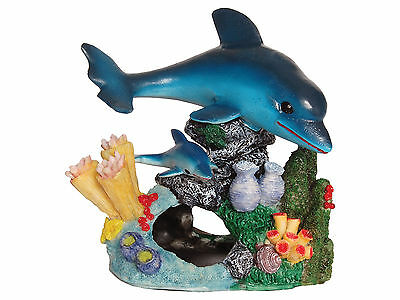 Dolphins with Coral Reef Base Aquarium Ornament Fish Tank Decoration