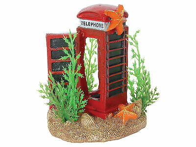 Telephone Box with Plants Aquarium Ornament Fish Tank Decoration