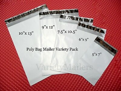 50 Poly Bag Postal Mailing Envelope Variety Pack  5 Sizes  Self-Sealing Mailers