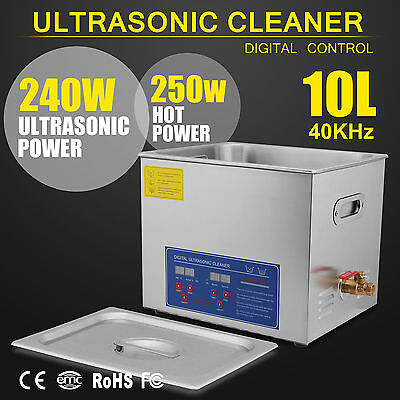 Digital Ultrasonic Cleaner Stainless Steel Heater Timer Industrial 10L Tank