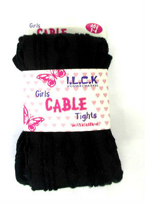 Girls Black Cable Knit Tights Age 2-3, 3-4, 5-6, 7-8,   Available
