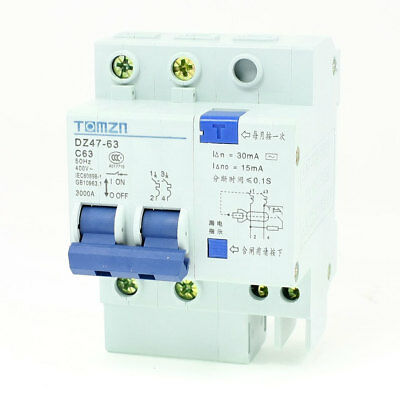 AC 400V 63A 2P+1N Overload Protection ELCB Earth Leakage Circuit Breaker