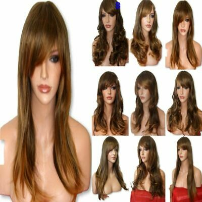 Brown Ombre Ladies Wig Natural pretty Long Curly Straight Wavy FULL LADIES WIG