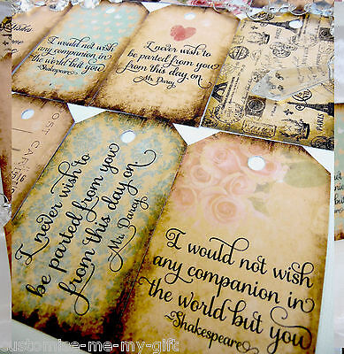 12 or 24 Vintage Love Quotes | Shabby Chic style wedding wish tree | Gift tags