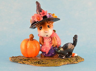 WITCHY HAT...SCARY CAT by Wee Forest Folk, WFF# M-407a, PINK LTD 2012