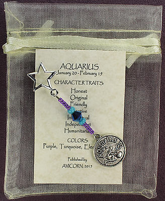 AQUARIUS ZODIAC CHARM Amulet Astrology Stars Sun Signs Planets Horoscope Traits