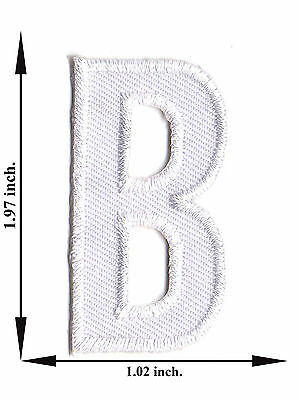 Alphabet B White Color English Letter Applique Iron on Patch Sew For T-shirt