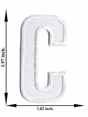 Alphabet C White Color English Letter Applique Iron on Patch Sew For T-shirt