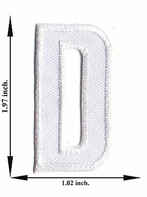 Alphabet D White Color English Letter Applique Iron on Patch Sew For T-shirt