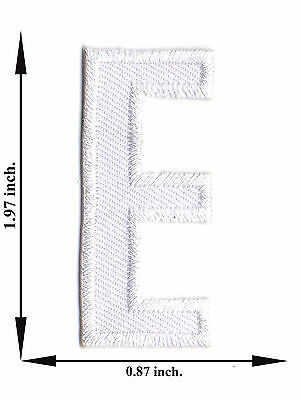 Alphabet E White Color English Letter Applique Iron on Patch Sew For T-shirt