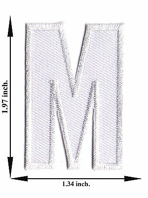 Alphabet M White Color English Letter Applique Iron on Patch Sew For T-shirt