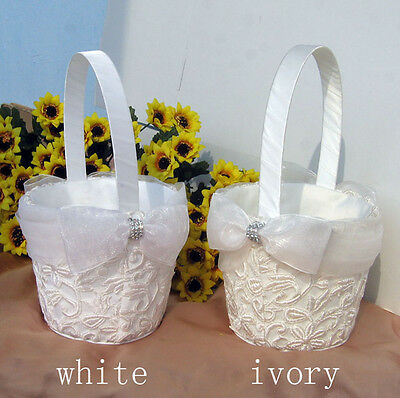 Embroidery Collection Flower Basket Flower Girl Basket Wedding Ceremony Party