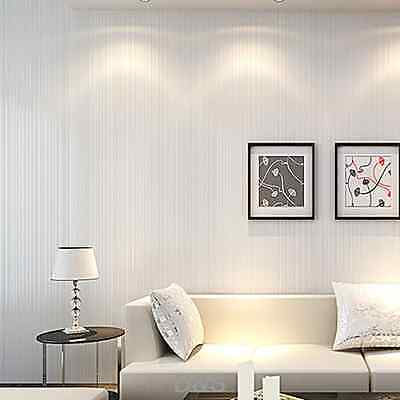 Creamy White Solid WallPaper Roll Non-woven for Bedroom Decoration TV Wall 10m