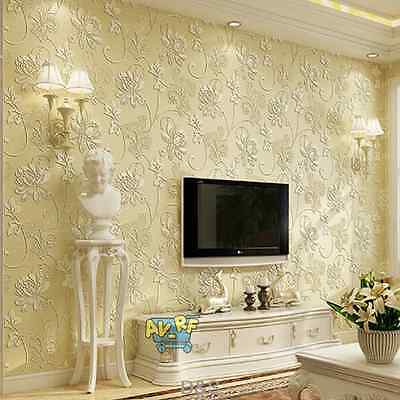 Beige Non-woven WallPaper 3D Living Room Bedroom for TV Wall Roll Decoration 10m