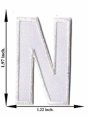 Alphabet N White Color English Letter Applique Iron on Patch Sew For T-shirt