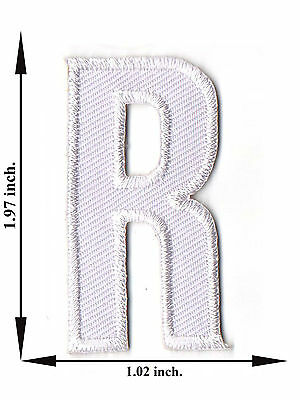 Alphabet R White Color English Letter Applique Iron on Patch Sew For T-shirt