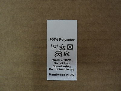 50 wash care clothing labels / garment labels polyester