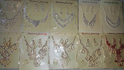 Joblot 10 pcs Diamante sets - Necklace & Earrings Wedding Prom wholesale lot D