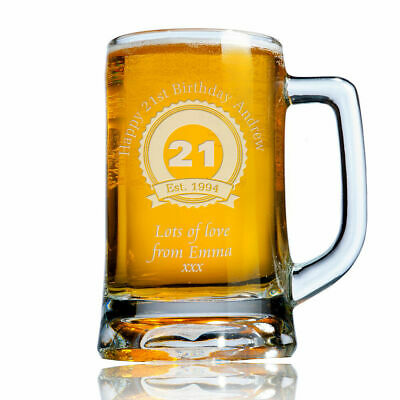 Personalised Engraved Beer Pint Glass Tankard 21st 30th 40th Birthday Gift Boxed